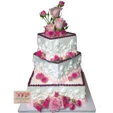 1521 3 tier square wedding cake with roses abc cake shop u0026 bakery