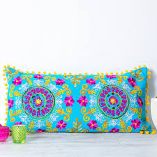Bolster Cushion Pad Embroidered Suzani Turquoise Bolster Cushion Handmade Cushions