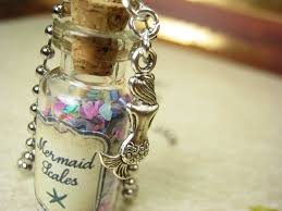 bottle necklace images Mermaid scales 2ml glass vial glass bottle necklace ocean sea jpg