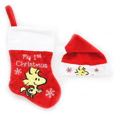 holiday time christmas ornaments snoopy stocking hat set
