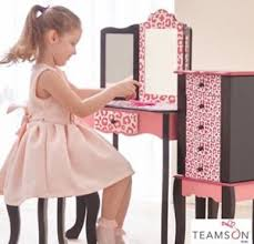 Girls Wooden Vanity Girls Wooden Vanity Table And Stool Leopard Role Play Dressing Up