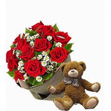 cheap flower delivery cheap teddy gift with bouquet delivery online in
