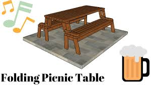 Wooden Folding Picnic Table Plans by Folding Picnic Table Plans Youtube