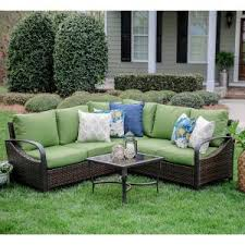 Sectional Cushions Trenton 4 Piece Wicker Outdoor Sectional Set With Tan Cushions