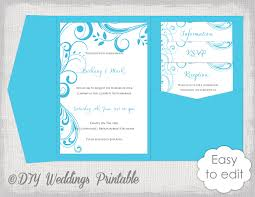 wedding invitation pockets pocket wedding invitation template diy malibu blue pocketfold