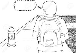 outline cartoon of student with backpack on sidewalk royalty free