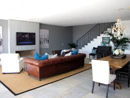 Living Room With Brown Leather Sofa Living Room White Slate Blue And Brown Color Sch For