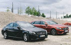 mercedes c class station wagon leipzig germany jul 30 2017 two mercedes c class w205