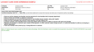 Clerk Job Description Resume by Layaway Clerk Job Description