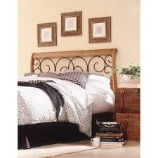 dunhill complete bed with wood sleigh style frame and autumn brown