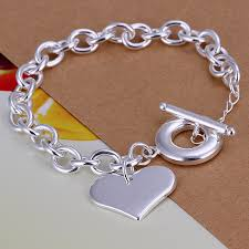 silver chain bracelet with heart images 925 sterling silver jewelry christmas gifts wholesale silver jpg