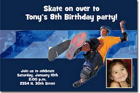skateboarding birthday invitations skateboarder birthday party