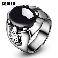 gothic rings men images Vintage black big stone ring men stainless steel punk jewelry man jpg
