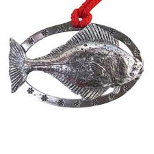 pewter halibut oval ornament s060or custom pin