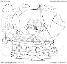 clipart graphic of a cartoon black and white monkey pirate holding