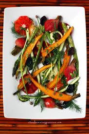 Mediterranean Style Food - bright healthy roast vegetable and blood orange salad