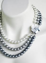 pearls silver necklace images Mother of pearl triple strand white silver pewter pearls wedding jpg
