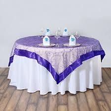 table overlays for wedding reception amazon com balsacircle 60x60 inch purple organza table overlays
