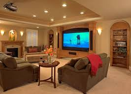 neutral interior decoration for basement family room idea feat