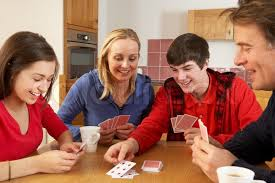 To Play With Family Family Cards In Kitchen Stock Photo Colourbox