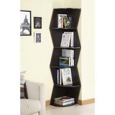 furniture of america waverly modern walnut 6 tier corner bookcase