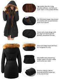 amazon com ilovesia womens hooded warm coats parkas with faux fur