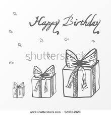 Sketch Birthday Card Birthday Card Gift Boxes Vector Sketch Stock Vector 523334923