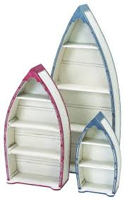 Boat Shelf Bookcase Nautical Style Wood Boat Shelf Set Of 3 White Red Blue Decor 41273
