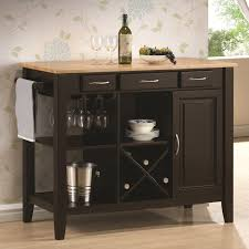 black solid wood butcher block kitchen island with shelves and