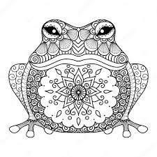 hand drawn zentangle frog for coloring book for u2014 stock