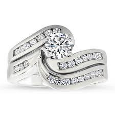 rings wedding set images Diamond channel set engagement ring and wedding band gloria jpg
