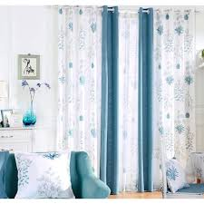 Blue Burlap Curtains White And Blue Botanical Print Burlap Country Curtains For Living Room