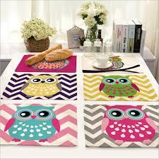aliexpress com buy home decor cartoon owl placemat linen fabric