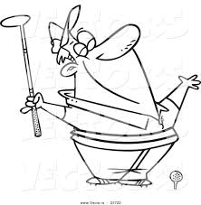 vector of a cartoon spring golfer smelling the air coloring page