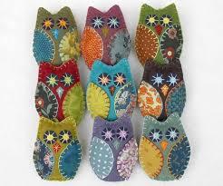 owl ornaments felt owl ornaments handmade felt owls in vintage retro colors