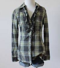 Buttons Buckles Ruffles Lace - daytrip women s plaid shirt tops blouses ebay