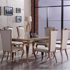 gold dining table set julia rose gold metal marble 6 piece dining table set f d brands
