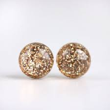 post earrings gold glitter globe post earrings staple collection tiny galaxies