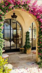 small house in spanish lawn garden spanish garden decor idea with climbing plants and
