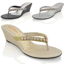 womens wedge heel sandals sparkly diamante ladies flip flop summer