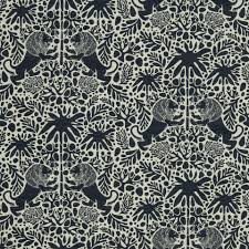 navy blue animal upholstery fabric with lions navy blue ivory
