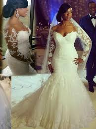 lace mermaid wedding dress the shoulder appliques mermaid sleeve plus size wedding