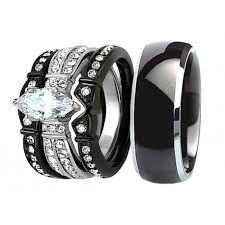 stainless steel wedding ring sets his hers 4 pcs black men s titanium matching band women s