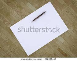 blank stationery set on wood background stock illustration