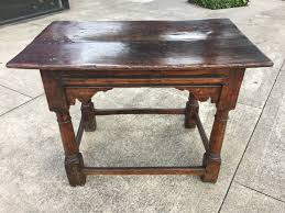 18th century english oak side table with carved apron and box