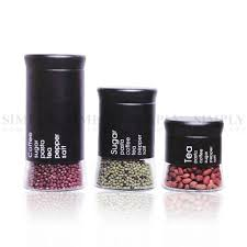 Black And White Kitchen Canisters Kitchen Canisters Canister Set Sets Glass Tea Coffee Sugar Salt White