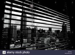 usa new york city midtown high rise windows venetian blind view