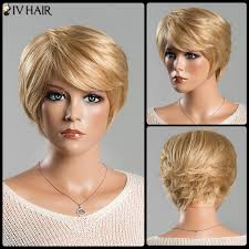 hats for women with short hair over 50 short fluffy straight tail upwards side bang spiffy siv human hair