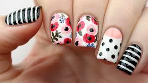 floral mix u0026 match nail art tutorial youtube