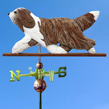 bearded collie mini bearded collie hand carved hand painted basswood weathervane brown